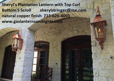 Sheryl's Plantation Style Gas Lights with Top Curl and Bottom Side Scroll