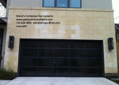 Sheryl's Contempo Gas Lanterns by Garage Door