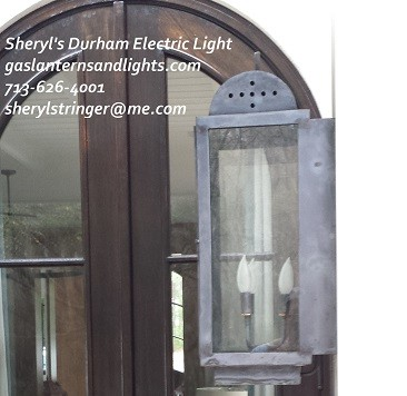 Durham Electric Lantern with Three Bulb Candelabra Base, Dark Patina