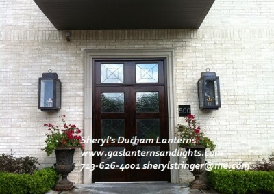 Sheryl's Durham Gas Lanterns with Dark Patina Finish, Extra Large Size