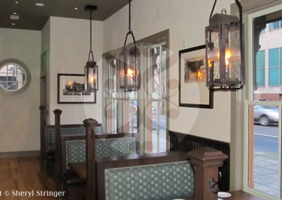 Sheryl's Durham Gas Lanterns Hanging in Historic Portland Restaurant