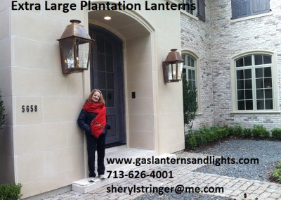 Sheryl's Extra Large Plantation Gas Lanterns with Solid Tops, Natural Copper Finish