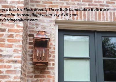 Sheryl's Electric Flush Mount Lantern, Three Bulb Candelabra Bulb Base, Natural Copper Finish