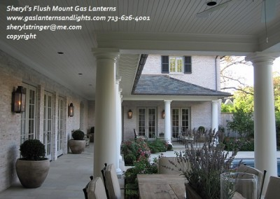 Sheryl's Flush Mount Gas Lanterns by Swimming Pool