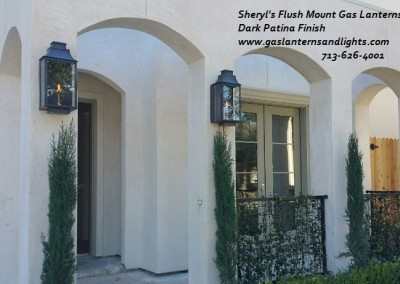 Sheryl's Flush Mount Gas Lanterns with Dark Patina Finish
