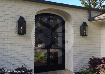 Sheryl's Flush Mount Gas Lanterns with Dark Patina Finish on Contemporary Home in Houston