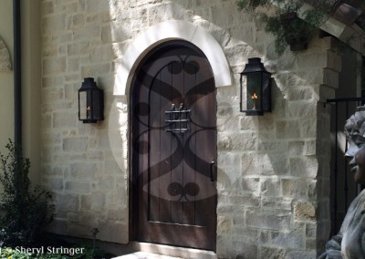 Sheryl's Flush Mount Lanterns with Dark Patina Finish on Tuscan Home in Houston