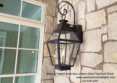 Sheryl's French Glass Top Lantern with Dark Patina Finish