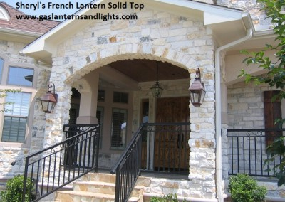 Sheryl's French Gas Lantern with Solid Top and Top Curl