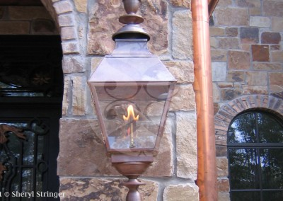 Sheryl's French Gas Lantern with Finials, Solid Top, Natural Copper Finish