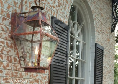 Sheryl's French Style Gas Lantern with Glass Top, Natural Copper Finish, New Orleans Style Home in Houston