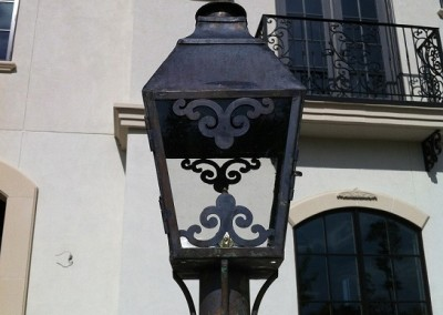 Sheryl's French Style Gas Lantern on Column with Flat Steel Mounting Plate