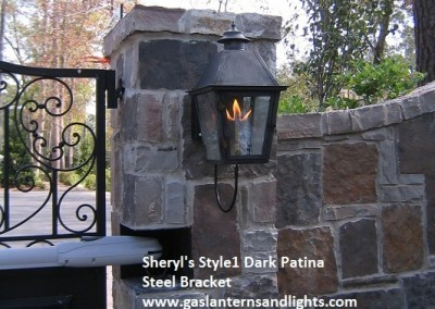 Sheryl's Style 1 Gas Lantern, Dark Patina, Steel Bracket