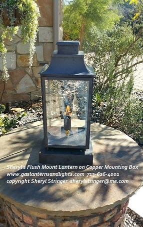 Square Gas Lantern on Column