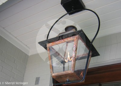 Sheryl's New Orleans Style Gas Lantern with Glass Top on Steel Yoke