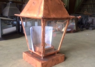 New Orleans Style Gas Lantern with Copper Mounting Box