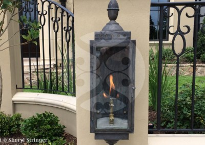 Sheryl's Long and Narrow Gas Lantern, Dark Patina Finish