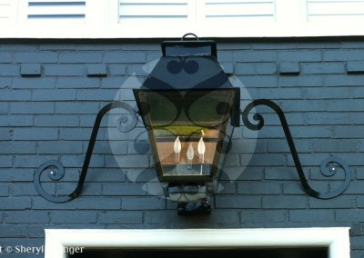 Sheryl's Extra Large V Style Electric Lantern with Mustache, River Oaks, Houston, TX