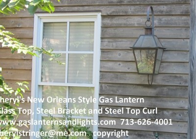 Sheryl's New Orleans Style Gas Lantern with Glass Top, Steel Bracket and Steel Curl