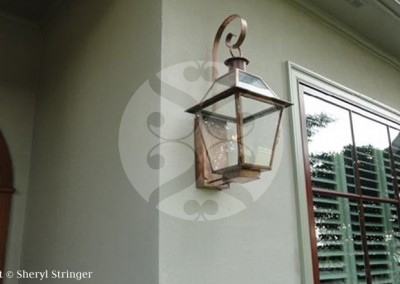 Sheryl's New Orleans Style Gas Lantern with Glass Top, Copper Top Curl and Natural Copper Finish