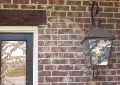 Sheryl's New Orleans Style Gas Lantern with Glass Top and Steel Wall Bracket and Steel Curl