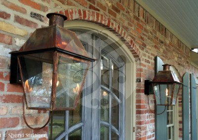 Sheryl's New Orleans Style Gas Lantern with Solid Top and Steel Wall Bracket