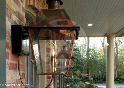 Sheryl's New Orleans Style Wall Mount Lantern with Solid Top and Steel Wall Bracket
