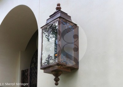 Sheryl's Extra Large Ornate Gas Lantern, Natural Copper Finish