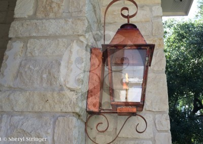 Sheryl's Plantation Style Gas Lantern, Natural Copper Finish, Top Curl and Bottom Side Scroll