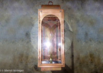 Sheryl's San Angelo Gas Lantern with Extended Wall Box, Natural Copper Finish