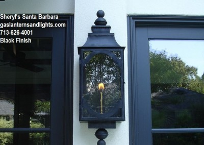 Santa Barbara Gas Lantern, Black Finish