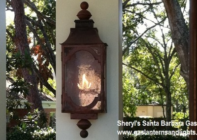 Sheryl's Santa Barbara Gas Lantern, Natural Copper Finish