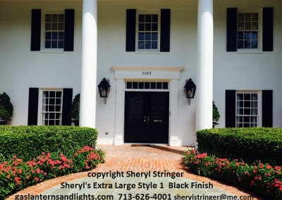 Sheryl's Extra Large Style 1 Gas Lanterns on Steel Brackets, Black Finish, Houston Country Club