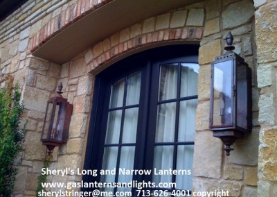 Sheryl's Long and Narrow Electric Lanterns, Natural Copper Finish