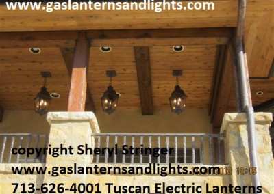 Sheryl's Electric Tuscan Lanterns Hanging by a Chain
