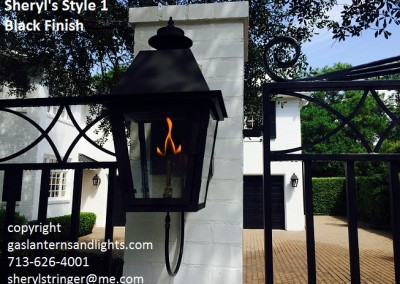 Sheryl's Style 1 Gas Lantern with Black Finish