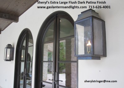Extra Large Flush Mount Gas Lanterns by Pool