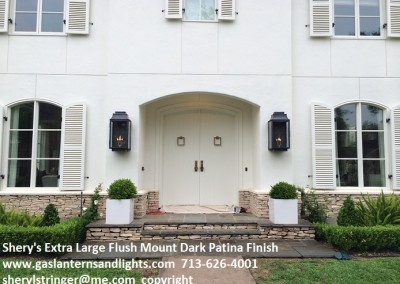Extra Large Flush Mount Gas Lanterns Dark Patina Finish Houston, TX