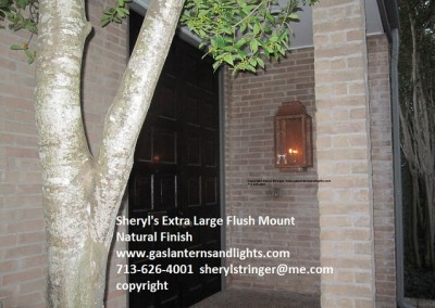 Extra Large Flush Mount Gas Lantern by Sheryl Natural Finish