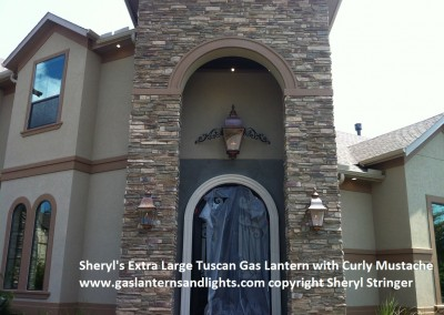 Sheryl's Extra Large Tuscan Gas Lantern with Mustache, The Woodlands