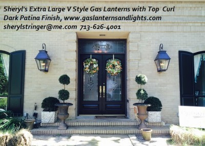 Sheryl's Extra Large V Style Gas Lantern with Top Curl