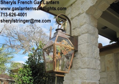 Sheryl's French Lantern, Glass Top, Window Scrolls
