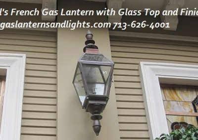 Sheryl's French Gas Lantern with Finials and Glass Top
