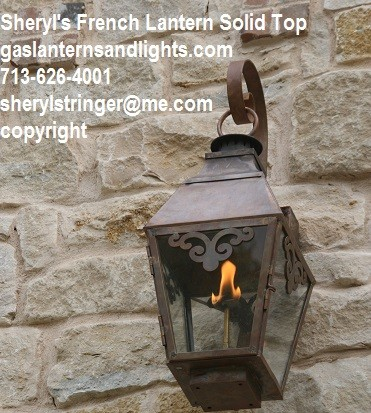 Sheryl's French Gas Lantern with Solid Top, Window Scrolls