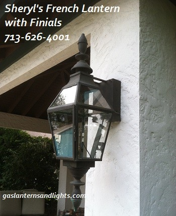 Sheryl's French Gas Light with Finials and Glass Top