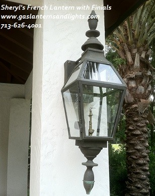 Sheryl's French Gas Lantern with Finials and Glass Top, Dark Patina Finish