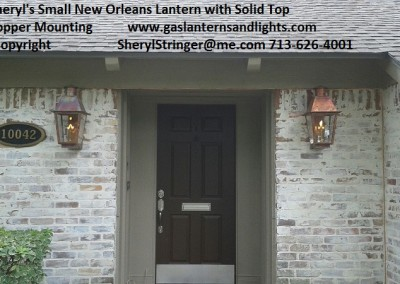 Sheryl's New Orleans Style Gas Lantern with Solid Top, Copper Box Mounting