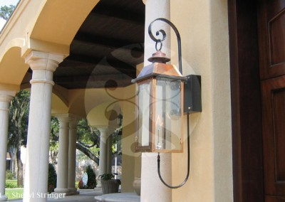 Sheryl's Style 3 Gas Lanterns on Steel Bracket, Natural Copper Finish
