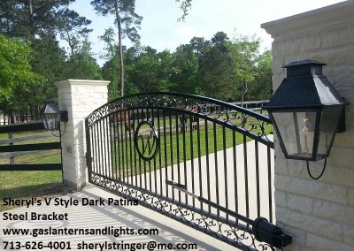 Sheryl's V Style Gas Lanterns by Gate with Steel Loop Brackets and Dark Patina Finish