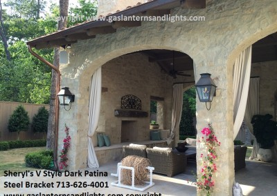 Sheryl's V Style Gas Lanterns on Tuscan Pool House, Dark Patina Finish, Steel Loop Bracket